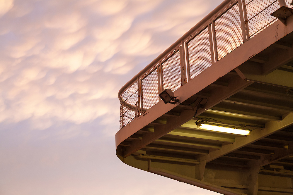 stormy skies over Long Island Sound threaten deck on the Port Jefferson to Bridgeport ferry