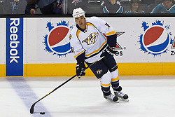 Mar 15, 2012; San Jose, CA, USA; Nashville Predators right wing Brandon Yip (18) warms up before the game against the San Jose Sharks at HP Pavilion. San Jose defeated Nashville 2-1 in shootouts. Mandatory Credit: Jason O. Watson-US PRESSWIRE