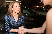 """11 DECEMBER 2011 - SCOTTSDALE, AZ:    Congresswoman and Republican Presidential hopeful MICHELE BACHMANN (left) arrives for a fundraiser sponsored by Politics on the Rocks at the Mint in Scottsdale Sunday. The Mint is a popular bar and restaurant built in a former bank in Scottsdale, AZ. Politics on the Rocks was started by Charles A. Jensen in Scottsdale, Arizona. The purpose of """"Politics on the Rocks"""" is to bring Republican & Conservative Professionals together in a monthly happy hour where they can network, socialize, and hear directly from prominent politicians and successful business leaders.    PHOTO BY JACK KURTZ"""
