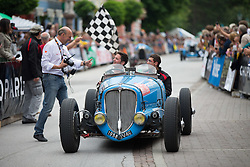 14.07.2012, Groebming, AUT, Ennstal Classic 202, Chopard Grand Prix, im Bild Ennstal Classik Organisator Michael Gloeckner, Dominique Baldy mit Beifahrer in einem Delahaye Jv46, Bj. 1938 // during Chopard Grand Prix at the Ennstal Classic 2012 in Groebming, Austria on 2012/07/14. EXPA Pictures © 2012, PhotoCredit: EXPA/ J. Groder