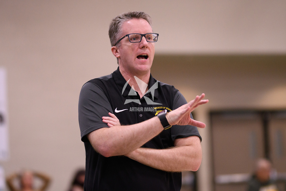 Head Coach, Dave Taylor of the Regina Cougars in action during the Women's Basketball Playoff Game on February  15 at Centre for Kinesiology, Health and Sport. Credit: Arthur Ward/Arthur Images