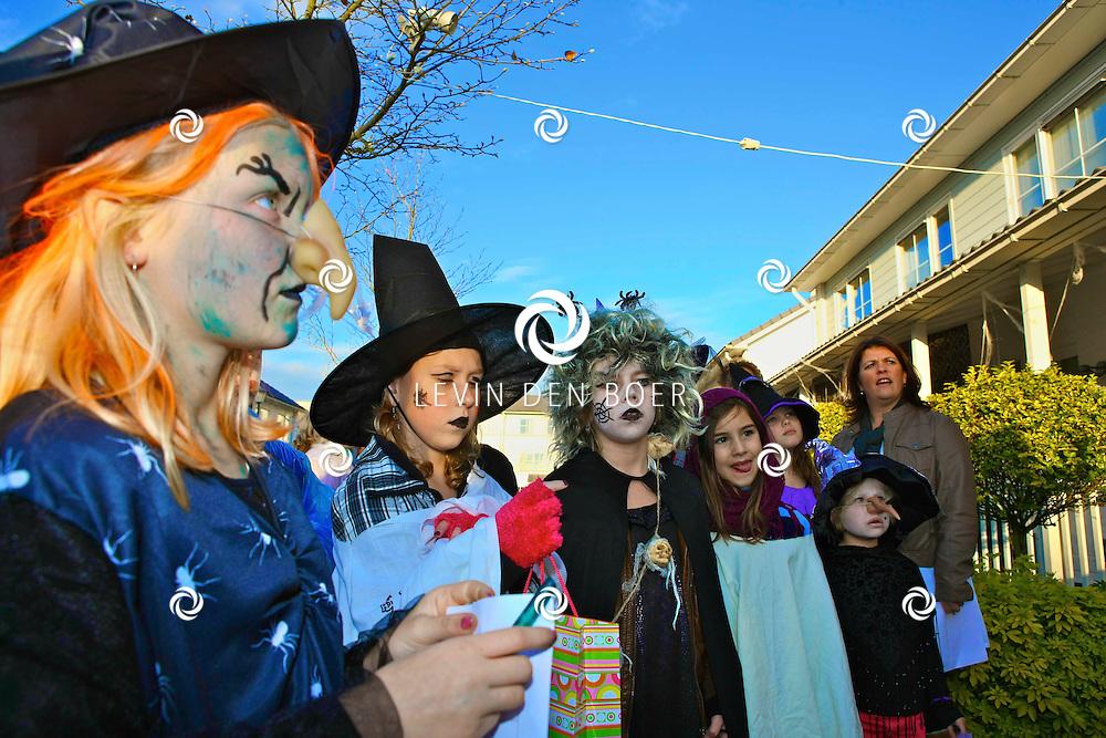 HEDEL - Op het pleintje van de Reyersakker verzamelden alle kinderen die speciaal verkleed waren voor het Halloween feest. Dit feest word georganiseerd door de buurtbewoners en de kinderen mogen diversen spelletjes doen en punten geven aan het griezeligste huis van de buurt. FOTO LEVIN DEN BOER - PERSFOTO.NU