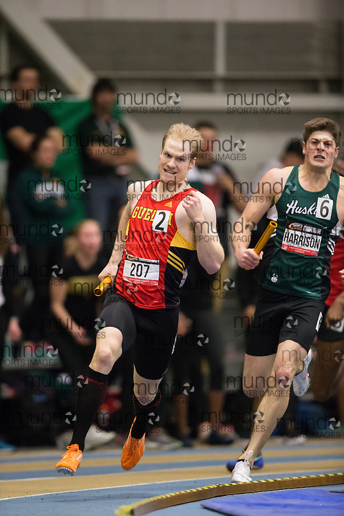 Windsor, Ontario ---2015-03-14---  Shawn Beaudoin of University of Guelph  competes in the 4x400m relay at the 2015 CIS Track and Field Championships in Windsor, Ontario, March 14, 2015.<br /> GEOFF ROBINS/ Mundo Sport Images