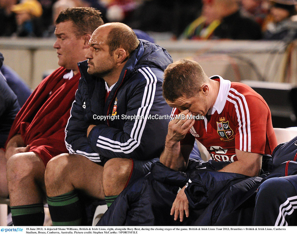 18 June 2013; A dejected Shane Williams, British & Irish Lions, right, alongside Rory Best, during the closing stages of the game. British & Irish Lions Tour 2013, Brumbies v British & Irish Lions. Canberra Stadium, Bruce, Canberra, Australia. Picture credit: Stephen McCarthy / SPORTSFILE