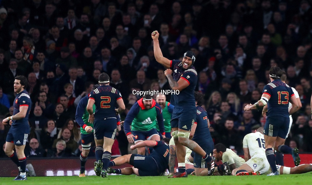 RBS 6 Nations Championship Round 1, Twickenham, London, England 4/2/2017<br /> England vs France<br /> France's S&eacute;bastien Vahaamahina celebrates as his side scored the opening try<br /> Mandatory Credit &copy;INPHO/James Crombie