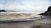 Douarnenez:  Brittany' - Tide Coming In - Sunday Morning', 1876. Oil on canvas.   France Emmanuel Lansyer (1835-1893) French landscape painter. Seascape  Sand Rock
