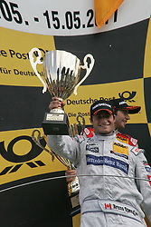 15.05.2011, Circuit Park, Zandvoort, NED, DTM 2011  2. Rennen, im Bild: Sieger Bruno Spengler, zweitplatzierter mit Pokal.   // during the dtm race Zandvoort  race 02, on 15/05/2011  EXPA Pictures © 2011, PhotoCredit: EXPA/ nph/   Theissen       ****** out of GER / SWE / CRO  / BEL ******