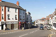 Main shopping street in Oystermouth, Mumbles, Gower peninsula, near Swansea, South Wales, UK