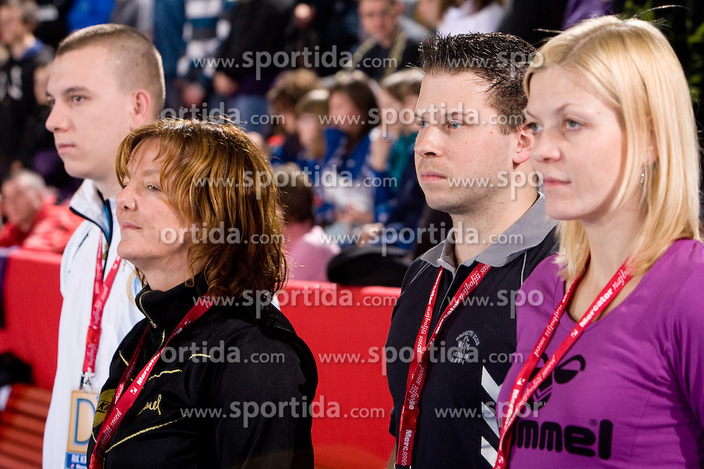 Head coach of Krim Marta Bon, Assistant coach of Krim Uros Bregar and Spela Cerar during 2nd Round of Group 1 at Women Champions League handball match between RK Krim Mercator, Ljubljana and HC Leipzig, Germany on February 13, 2010 in Arena Kodeljevo, Ljubljana, Slovenia. Krim defeated  Leipzig 32-26. (Photo by Vid Ponikvar / Sportida)