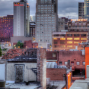 On top of a garage at 18th & Main in downtown Kansas City looking north.
