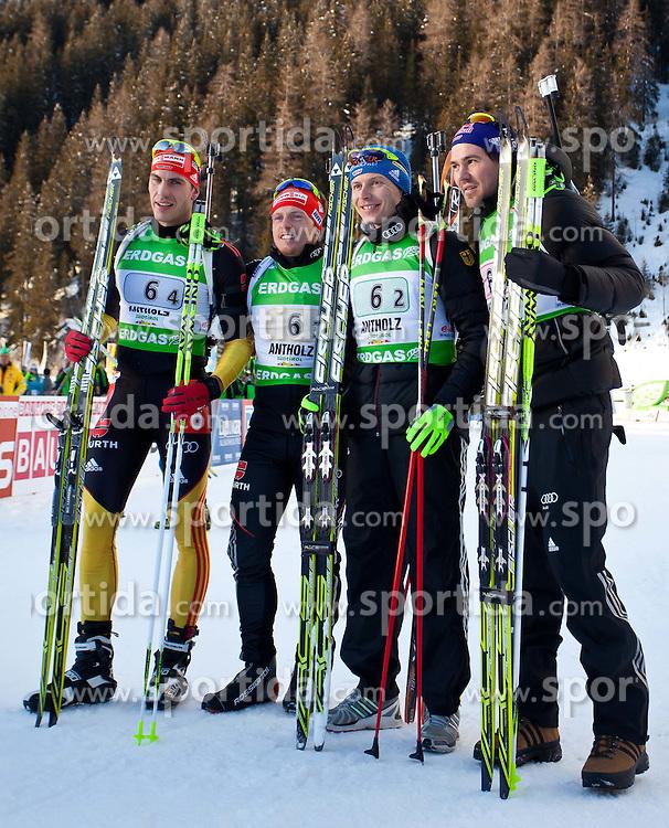 """22.01.2012, Südtirol Arena, Antholz, ITA, E.ON IBU Weltcup, 6. Biathlon, Antholz, Staffel Herren, im Bild zweiter Platz für die Deutsche Staffel, vl.nr. Arnd Peiffer (GER), Florian Graf (GER), Andreas Birnbacher (GER) und Michael Roesch (GER) // during Men Relay n E.ON IBU World Cup 6th, """"Southtyrol Arena"""", Antholz-Anterselva, Italy on 2012/01/22, EXPA Pictures © 2012, PhotoCredit: EXPA/ Juergen Feichter"""