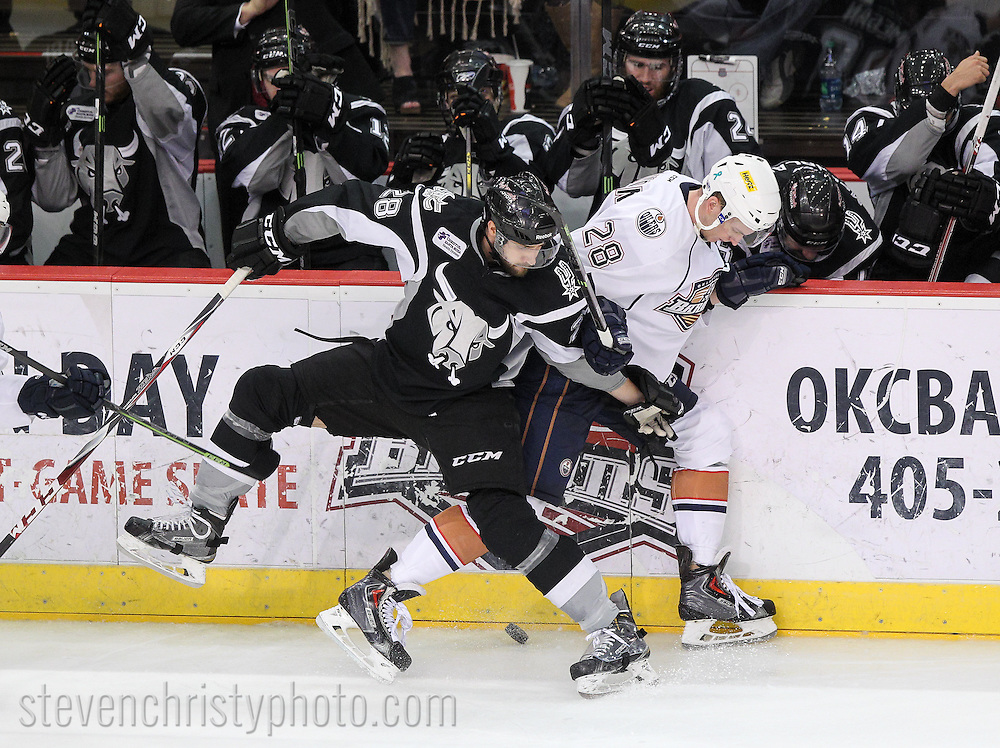 April 23, 2015: The Oklahoma City Barons play the San Antonio Rampage in game 1 of the first round (western conference quarter-finals) of the American Hockey League playoffs. The game was played at the Cox Convention Center in Oklahoma City.
