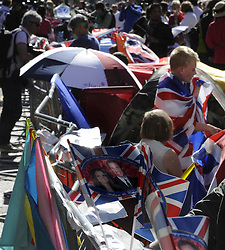©  licensed to London News Pictures. . UK.27/04/2011.Royal Wedding Preparations today in London with only two days to go before the big day..Royal Wedding watchers camp outside Westminster Abbey.Please see special instructions..Picture credit should read Grant Falvey/LNP......