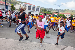 Virgin Islanders gear up for the 2-mile Virgin Islands Walk/Run Against Gun Violence along the Charlotte Amalie Waterfront.   Proceeds from the event go to benefit the Jason Carroll Memorial Fund for college scholarships.  St. Thomas, VI.  22 May 2016.  © Aisha-Zakiya Boyd