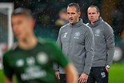 Celtic coach John Kennedy overseeing the warm up before the Europa League group stage match between Celtic and RP Leipzig at Celtic Park, Glasgow, Scotland on 8 November 2018.