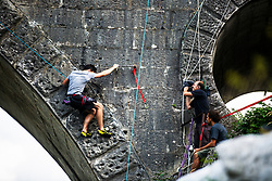 Qalifications in climbing the Kanal bridge on August 3, 2019 in Kanal ob Soci, Slovenia. Photo by Peter Podobnik / Sportida