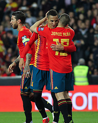 March 23, 2019 - Valencia, Valencia, Spain - Rodrigo and Jordi Alba of Spain in action during European Qualifiers championship, , football match between Spain and Norway, March 23th, in Mestalla Stadium in Valencia, Spain. (Credit Image: © AFP7 via ZUMA Wire)