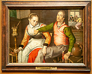 Couple in a shelter by Pieter Pietersz (4th quarter of the 16th century) Kunsthistorisches Museum (Museum of Fine Arts) in Vienna, Austria