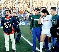 15.12.1985, Stadio Ferraris, Genova, Italy..Serie A, Sampdoria v SS Napoli..Diego Maradona of Napoli comes on the pitch..©JUHA TAMMINEN