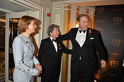 Left to right, LADY CAROLYN WARREN, JOHN WARREN and the HON.HARRY HERBERT at the 26th Cartier Racing Awards held at The Dorchester, Park Lane, London on 8th November 2016.