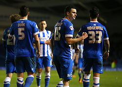 Jamie Murphy ( 2nd R ) of Brighton and Hove Albion celebrates after scoring to make it 3-0 - Mandatory byline: Paul Terry/JMP - 05/02/2016 - FOOTBALL - Falmer Stadium - Brighton, England - Brighton v Brentford - Sky Bet Championship.