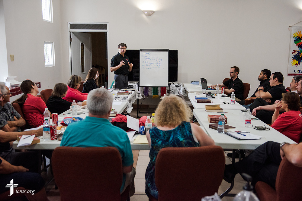 The Rev. Ted Krey, regional director for the Latin America and the Caribbean region of the LCMS, presents to fellow Foro members during a meeting at Iglesia Luterana Principe de Paz (Prince of Peace Lutheran Church), Mayagüez, Puerto Rico, on Monday, April 16, 2018. LCMS Communications/Erik M. Lunsford