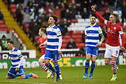Cauley Woodrow of Barnsley FC celebrating his team's first goal during the EFL Sky Bet Championship match between Barnsley and Queens Park Rangers at Oakwell, Barnsley, England on 14 December 2019.