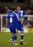 Photo: Dave Linney.<br />Crewe Alexander v Cardiff City. Coca Cola Championship. 17/04/2006Cardiff's Paul Parry (R) is the first to congatulate  Jason Koumas after he made it 1-1
