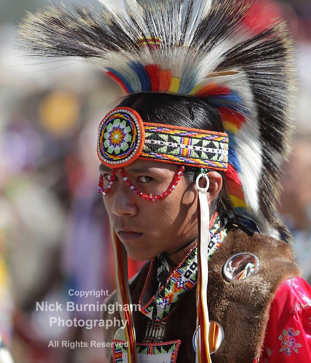 SAN BERNARDINO, CALIFORNIA, USA, OCTOBER 13, 2012.  The San Manuel Band of Indians hold their annual Pow Wow in San Bernardino on October 13, 2012. Dances include the Grass, Chicken and Fancy dances.