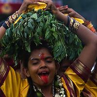 A HIndu devotee during Thaipusam festival, Batu Caves, Malaysia.