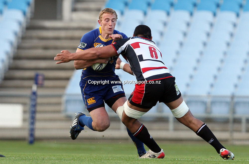 Brett Mather on the attack for Otago.<br /> Air NZ Cup - Otago v Counties Manukau, 24 October 2009, Carisbrook, Dunedin, New Zealand.<br /> Photo: Rob Jefferies/PHOTOSPORT