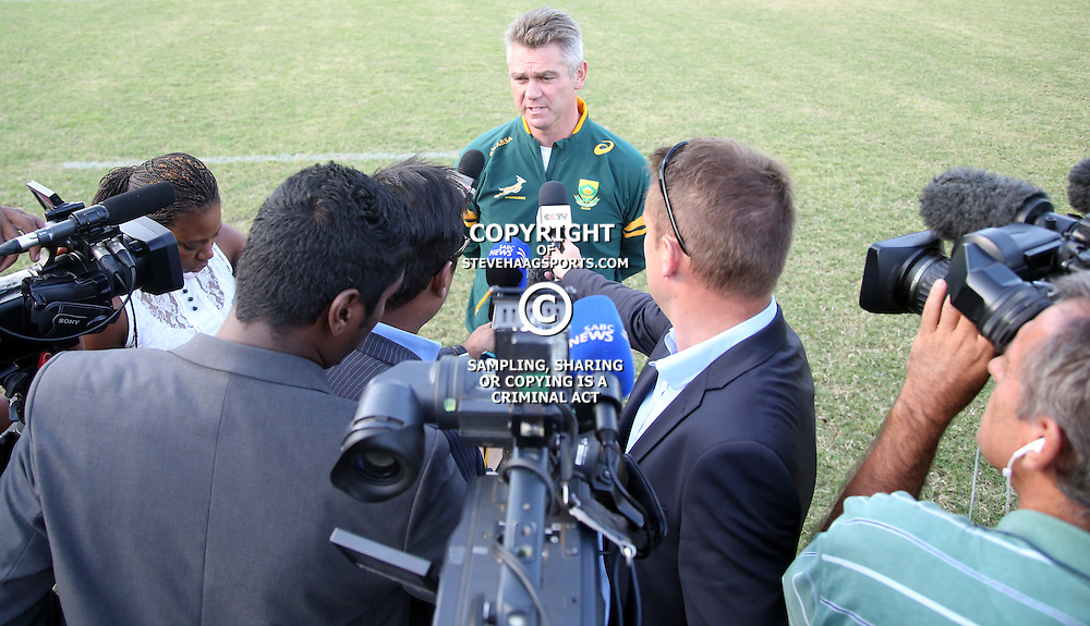 DURBAN, SOUTH AFRICA - MAY 26: Media session with Springbok head coach Heyneke Meyer during the Springbok training and media session at Northwood High School on May 26, 2014 in Durban, South Africa. (Photo by Steve Haag/Gallo Images)