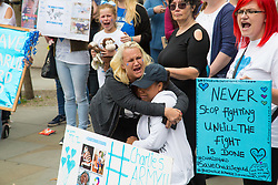 London, July 24th 2017. Emotions run high as supporters of parents of the terminally ill baby Charlie Gard, hear that they have capitulated in their court battle to save their terminally ill baby at the High Court in London
