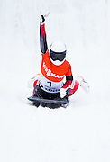Liz Vathje takes the gold in women's skeleton competition at FIBT World Cup at Canada Olympic Park in Calgary, Alberta on December 19, 2014.
