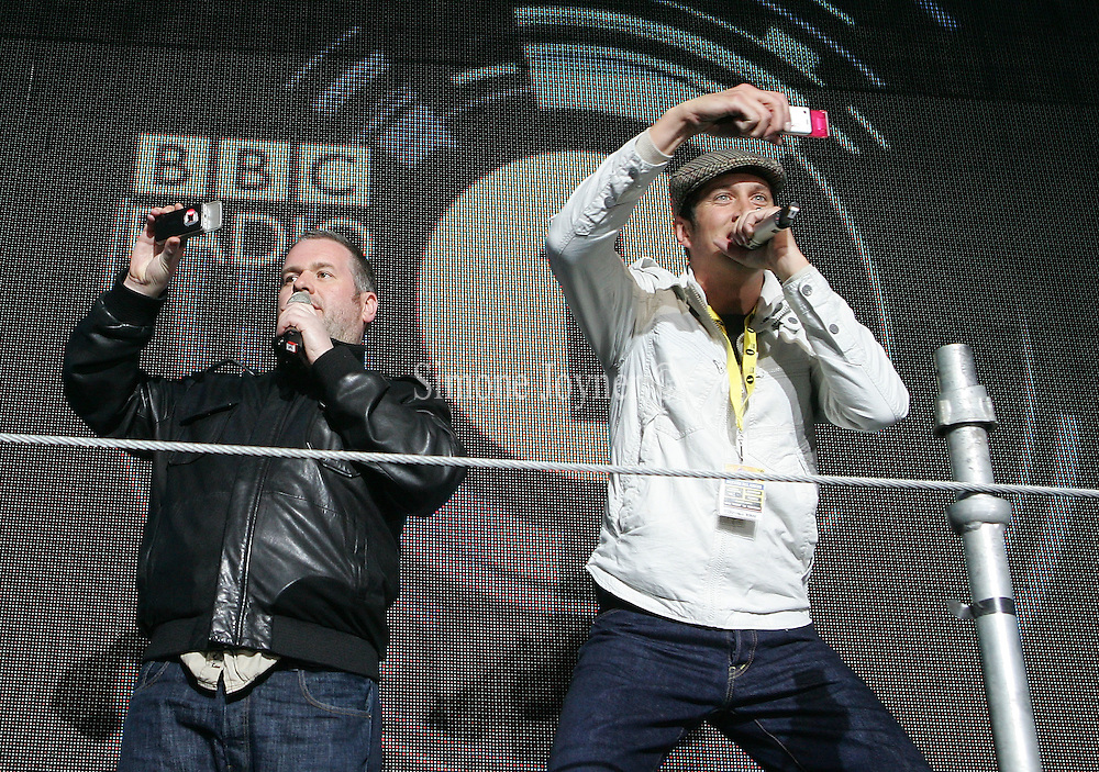 Chris Moyles and Vernon Kay during day one of 'Radio 1's Big Weekend' at Lydiard Country Park on May 9, 2009 in Swindon, England. (Photo by Simone Joyner)