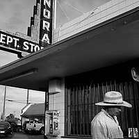 A farm worker makes his way past a department store in Mendota in Fresno County in California's Central Valley, CA, Friday, Oct. 7, 2016. One of the worst droughts in California history officially ended this spring in all of the state's counties except Fresno, Kings, Tulare and Tuolumne. <br />