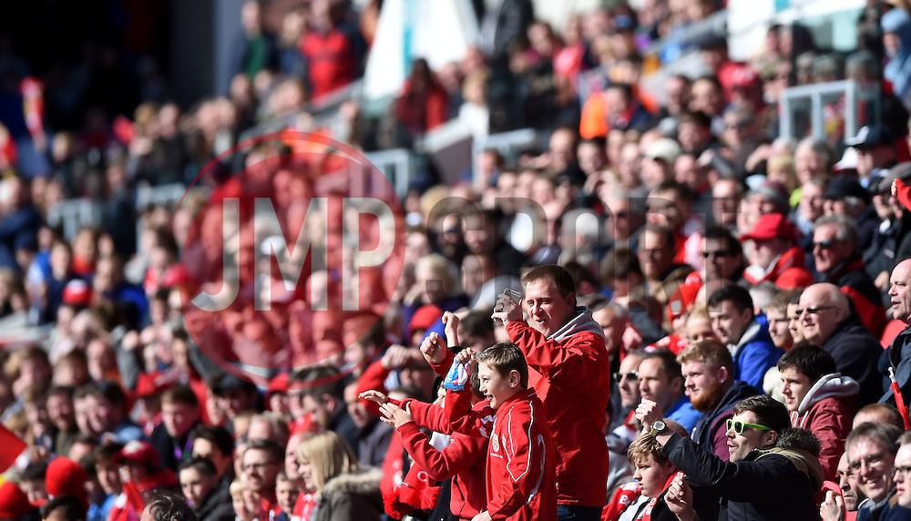 Bristol City fans  - Mandatory by-line: Joe Meredith/JMP - 30/04/2016 - FOOTBALL - Ashton Gate Stadium - Bristol, England - Bristol City v Huddersfield Town - Sky Bet Championship