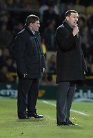 Photo: Alan Crowhurst.<br />Watford v Brighton & Hove Albion. Coca Cola Championship. 03/12/2005. <br />Watford coach Adrian Boothroyd (R) and Mark McGhee don't look happy.