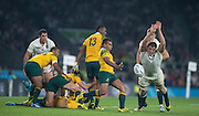 Twickenham, Great Britain,    Joe LAUNCHBURY, charges down, Will GENIA, clearence kick, during the Pool A game, England vs Australia.  2015 Rugby World Cup, Venue, RFU Stadium, Twickenham, Surrey, ENGLAND.  Saturday  03/10/2015<br /> Mandatory Credit; Peter Spurrier/Intersport-images]