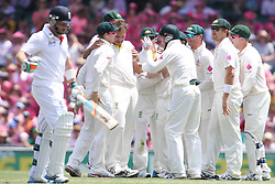 © Licensed to London News Pictures. 05/01/2014. Australian team celebrate after getting the wicket of Ian Bell during day 3 of the 5th Ashes Test Match between Australia Vs England at the SCG on 5 January, 2013 in Melbourne, Australia. Photo credit : Asanka Brendon Ratnayake/LNP