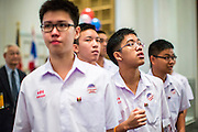 07 NOVEMBER 2012 - BANGKOK, THAILAND: Thai high school students walk into an election party sponsored by the US Embassy in Bangkok. US President Barack Obama won a second term Tuesday when he defeated Republican Mitt Romney. Preliminary tallies gave the President more than 300 electoral votes, well over the 270 needed to win. The election in the United States was closely watched in Thailand, which historically has very close ties with the United States. The American Embassy in Bangkok sponsored an election watching event which drew thousands to a downtown Bangkok hotel. American Democrats in Bangkok had their own election watch party at a restaurant in Bangkok.       PHOTO BY JACK KURTZ