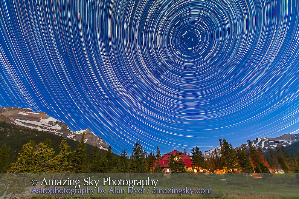 A composite of 233 images, taken with the Canon 5D MkII and 16-35mm lens, at Bow Lake in Banff, showing circumpolar star trails across the sky looking north over Num-Ti-Jah Lodge. Each image was 50 seconds, taken at 1s intervals at ISO 1250 and at f/4. Stacked in Photoshop using Chris Schur's Photoshop Action.