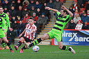 Billy Waters and Aarran Racine during the Vanarama National League match between Cheltenham Town and Forest Green Rovers at Whaddon Road, Cheltenham, England on 21 November 2015. Photo by Antony Thompson.