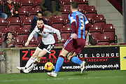 Sheffield United defender John Brayford during the Sky Bet League 1 match between Scunthorpe United and Sheffield Utd at Glanford Park, Scunthorpe, England on 19 December 2015. Photo by Ian Lyall.