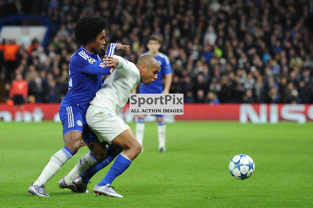 Chelseas Willian and FC Portos Maicon in action during the Chelsea v FC Porto Champions League match in the group stage on the 9th December 2015.