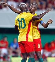 Fotball<br /> Østerrike v Kamerun<br /> 12.08.2009<br /> Foto: Gepa/Digitalsport<br /> NORWAY ONLY<br /> <br /> Bild zeigt den Jubel von Achille Emana und Samuel Eto'o (CMR)