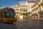 Tram in Place de la Comedie, the main square Montpellier, France