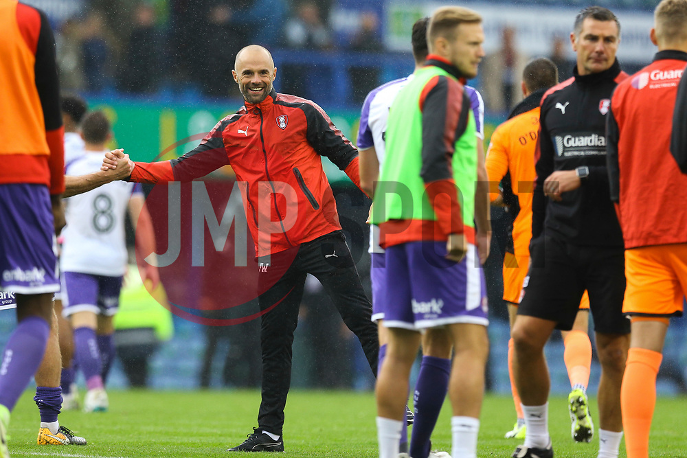 Rotherham United manager Paul Warne celebrate winning away from home against Portsmouth. Portsmouth 0-1 Rotherham United - Mandatory by-line: Jason Brown/JMP - 03/09/2017 - FOOTBALL - Fratton Park - Portsmouth, England - Portsmouth v Rotherham United - Sky Bet League Two