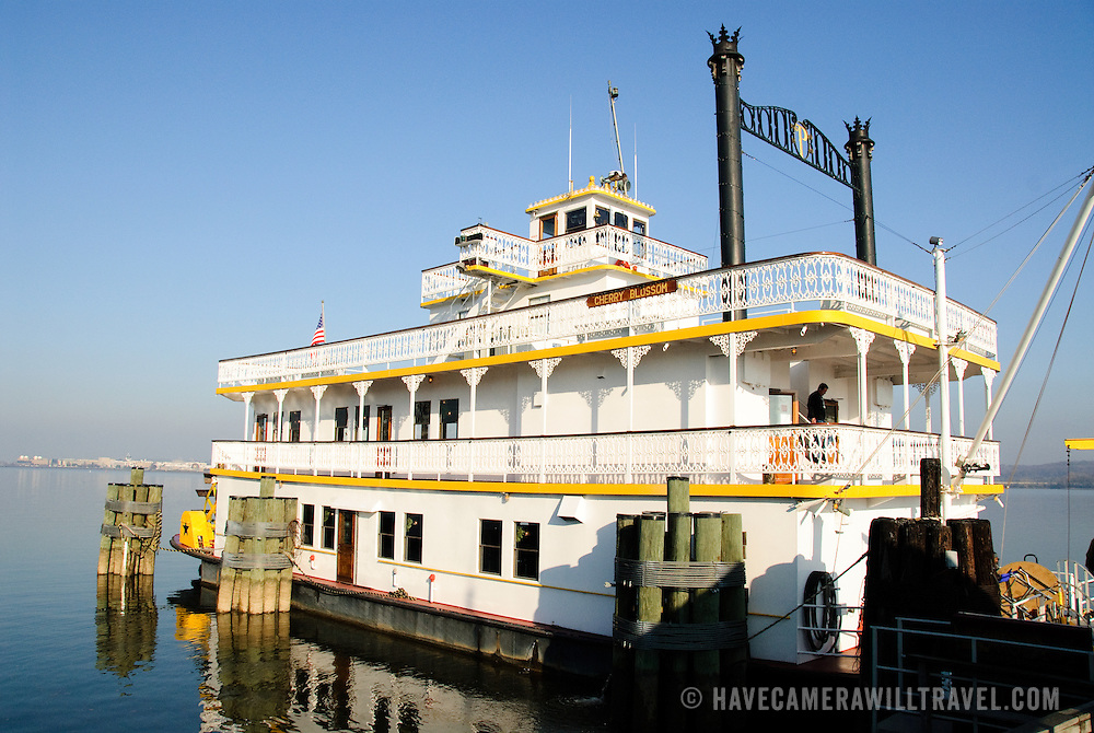 Historic paddle wheel boat the Cherry Blossom docked at the marina in Old Town Alexandria
