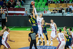 Jan Kosi of Slovenia and Martins Meiers of Latvia during basketball match between National teams of Slovenia and Latvia in Round #10 of FIBA Basketball World Cup 2019 European Qualifiers, on December 2, 2018 in Arena Stozice, Ljubljana, Slovenia. Photo by Grega Valancic